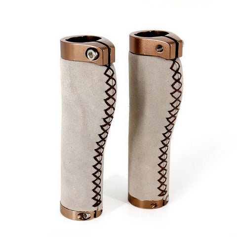 Bicycle Lock-on Leather Handlebar Hand-Stitched Grips - White (Pair) (FSLV)