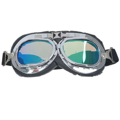Vintage Folding Colored Lenses Motorcycle Goggles Glasses with Elastic Strap (FSLV)