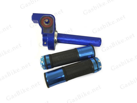 Aluminum Throttle Handle Set - Blue - Gasbike.net