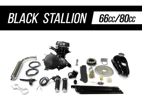 Black Stallion 66cc/80cc Angle Fire Slant Head Bicycle Engine Kit - Gasbike.net