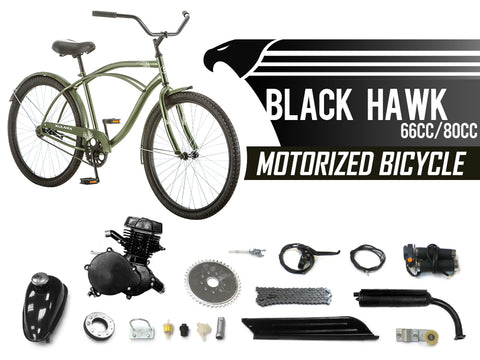 Black Hawk 66cc/80cc Motorized Bicycle - Gasbike.net