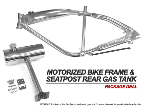 Motorized Bike Frame and Seatpost Rear Gas Tank - (Repair Required, the frame has holes in the gas tank)
