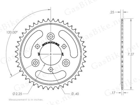 44 Tooth Steel Sprocket & Adapter Assembly - Gasbike.net
