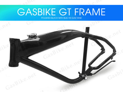 Gasbike GT Aluminum Bike Frame With Built-in Gas Tank - Polished Black - Gasbike.net