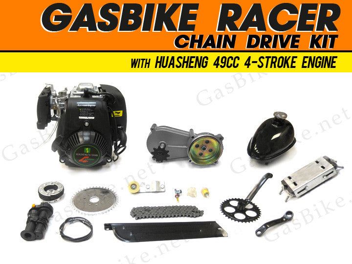 GasBike Racer Chain Drive Engine Kit with HuaSheng 49cc 4