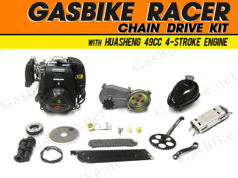 GasBike Racer Chain Drive Engine Kit with HuaSheng 49cc 4-Stroke - Gasbike.net