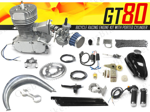 GT80 Bicycle Racing Engine Kit 66cc - 4.5 HP with Ported Cylinder - Gasbike.net