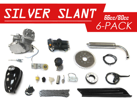 Silver Slant 66cc/80cc Bicycle Engine Kit - 6 Pack - Gasbike.net