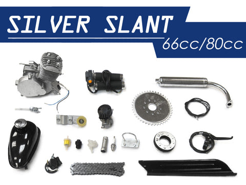 Silver Slant 66cc/80cc Bicycle Engine Kit - Gasbike.net