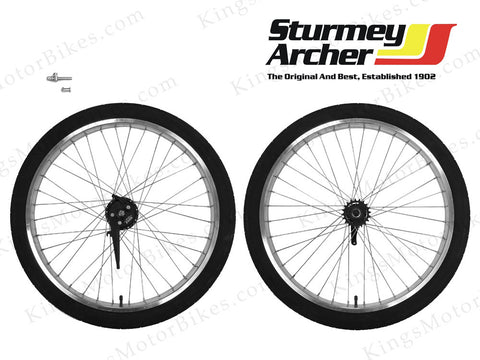 Double Wall 12 Gauge Aluminum Wheels Set With Sturmey Archer X-FD (Polished Alum