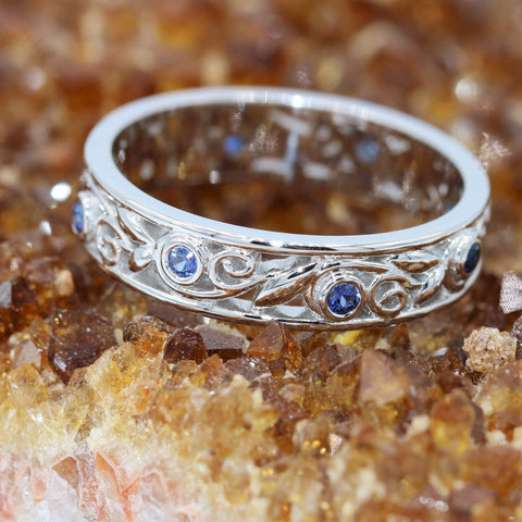Blue Sapphires eternity band. Wedding ring.