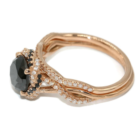Black Diamond in rose gold rings.