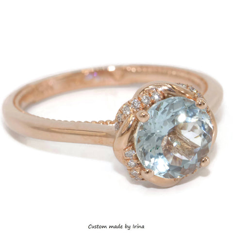 Braided halo ring, Custom made by Irina, Aquamarine ring