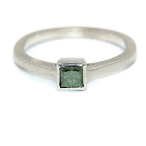 Bold engagement ring, green diamond ring