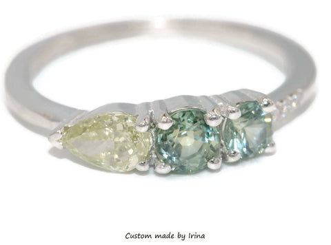 Ombre Asymmetric cluster ring