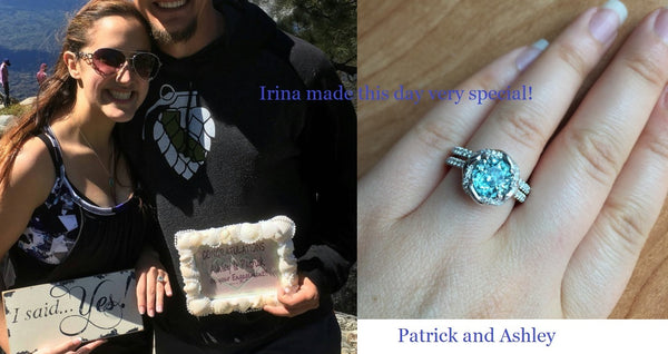 Natural Blue Zircon ring custom made by Irina