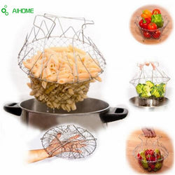 Foldable Mesh Basket Strainer and Colander (Steam, Rinse, Strain & Fry)