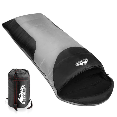 Weisshorn Camping Envelope Single Sleeping Bag - Grey black