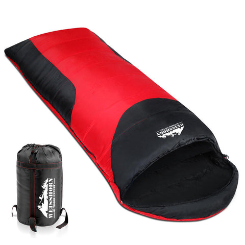 Weisshorn Camping Envelope Single Sleeping Bag - Red/Black
