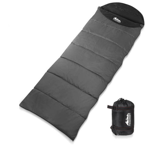 Weisshorn Single Camping Envelope Sleeping Bag Micro - Grey/Black