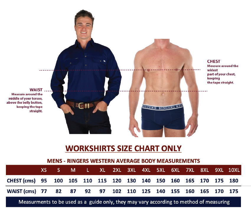 Ringers Western Work Shirt Mens Size Chart