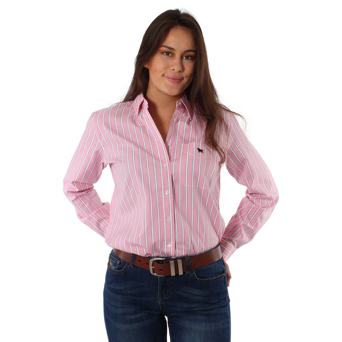 Simpson Womens Single Pocket Relaxed Fit Shirt Pink Stripe