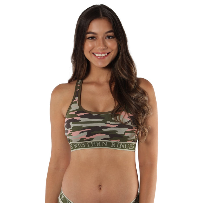 Juliette Womens Classic Crop Top  - Camo Print on Coral