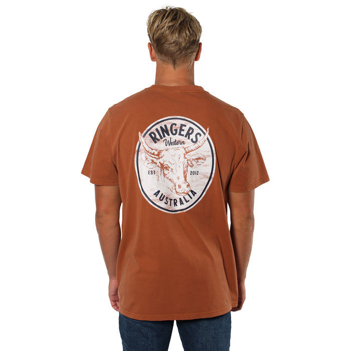 Wild West Bull Mens Loose T-Shirt - Rust
