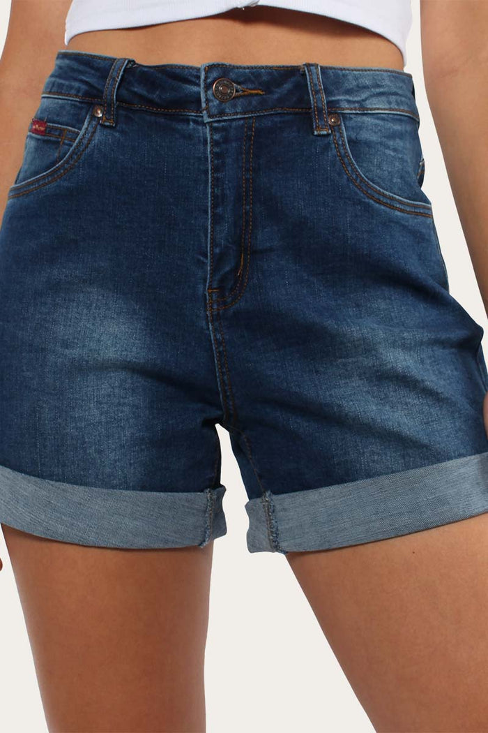 Bronte Womens High Rise Shorts - Mid Blue