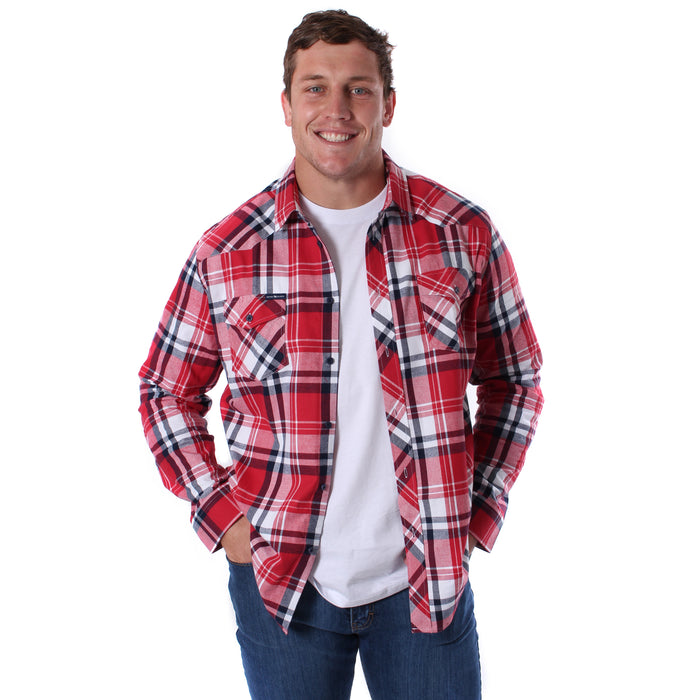 Cooma Mens Flanno Semi Fitted Shirt Red White Navy Check