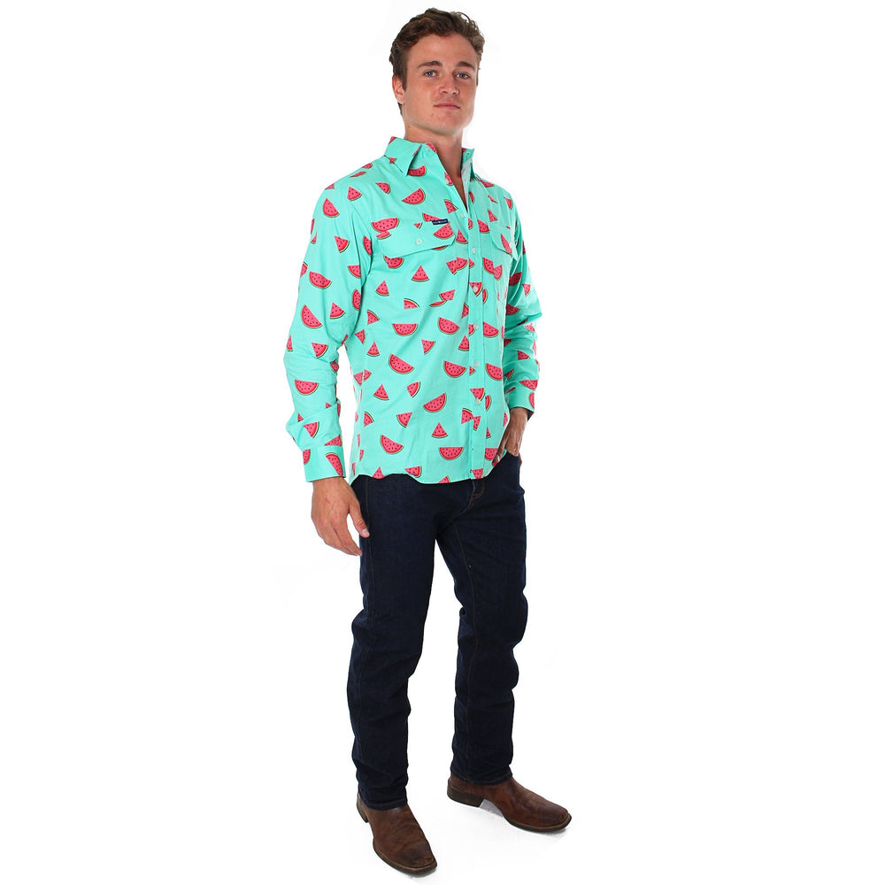 Watermelon Mens Full Button Semi Fitted Long Sleeve Workshirt