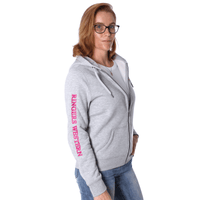 Jindabyne Womens Full Zip Hoodie w Kangaroo Pocket Grey Marle
