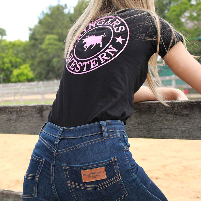 Womens Signature Bull Tee in Black & Pink