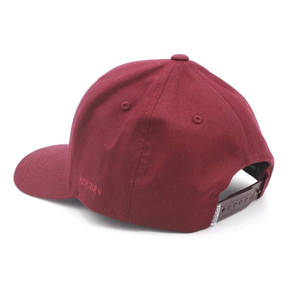 Burgundy Cotton Twill Baseball Cap with White & Burgundy 3D Embroidery Label