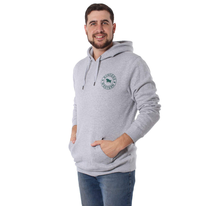 Signature Bull Mens Pull Over Hoodie Light Grey Marle