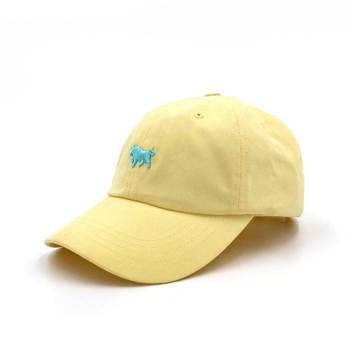 Pale Banana Dad Hat with Teal Embroidery