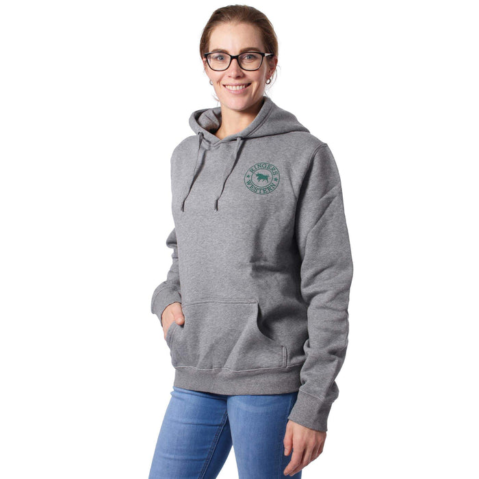 Signature Bull Womens Pullover Hoodie Grey Marle