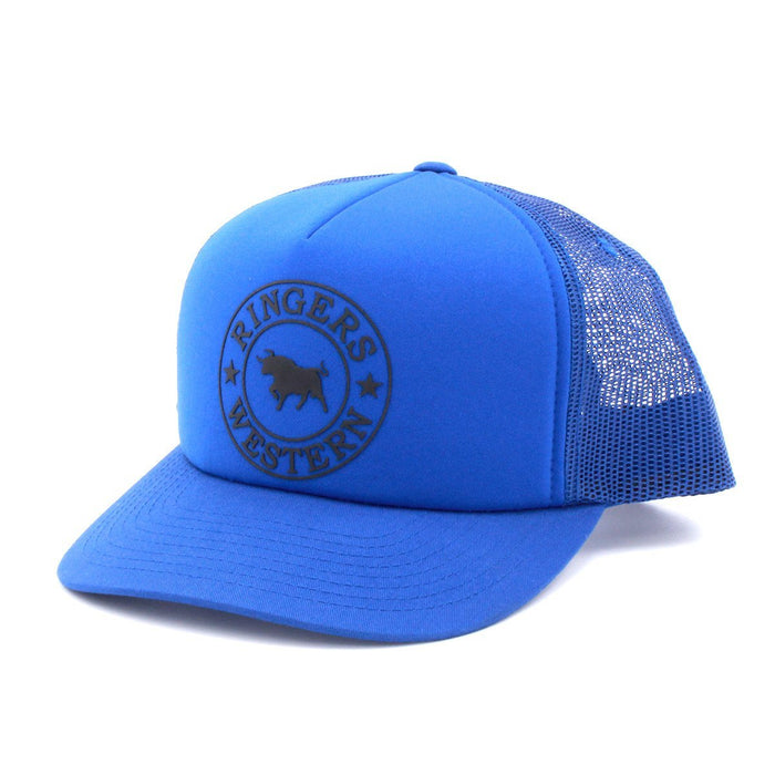 Royal Blue foam trucker snapback hat with black print front photo