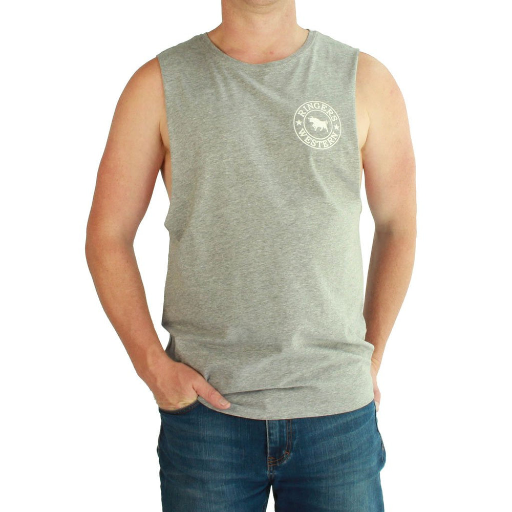 Signature Bull Muscle Tank in Grey/White