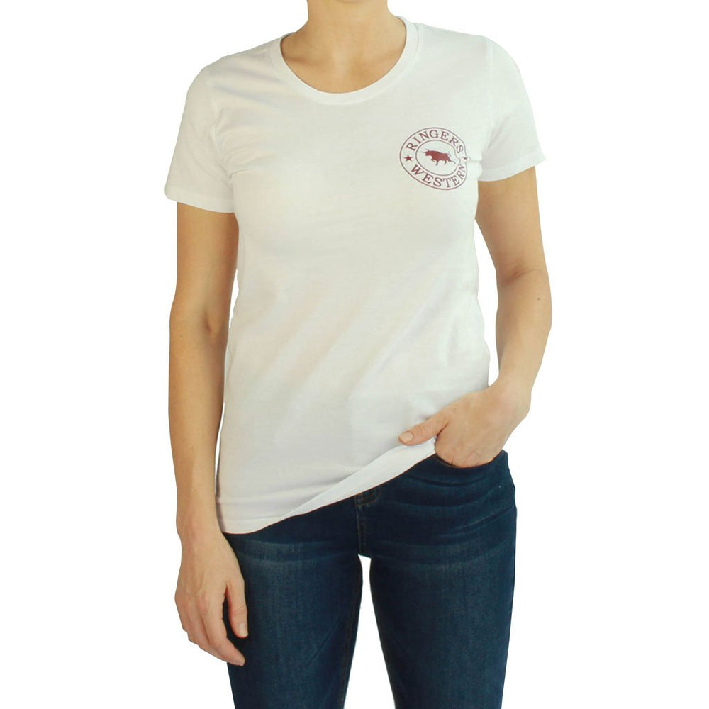 Signature Bull Womens Tee in White/Burgundy