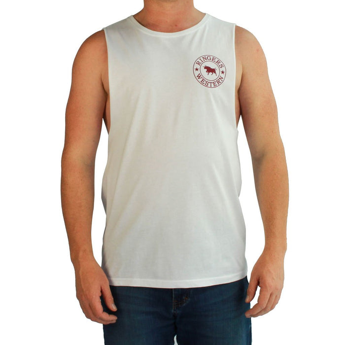 Signature Bull Muscle Tank in White/Burgundy