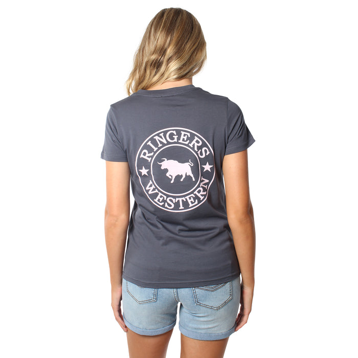 Signature Bull Womens Original Fit T-Shirt - Petrol Blue with Dusty Pink Print