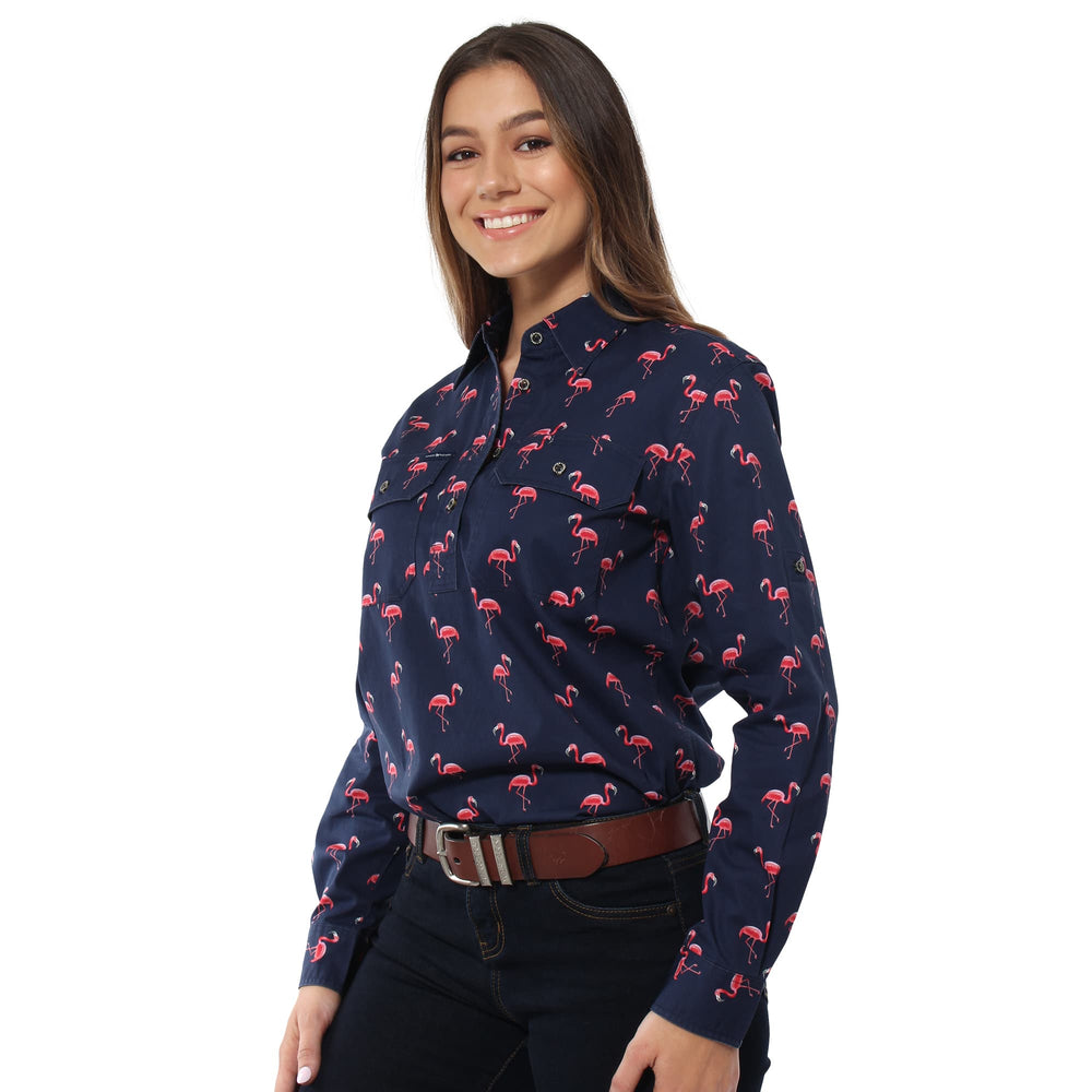 Limited Edition Womens Half Button Work Shirt - Flamingo Print on Dark Navy