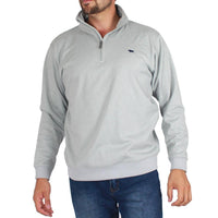 Lithgow Mens Half Zip Fleece Sweater Grey Marle
