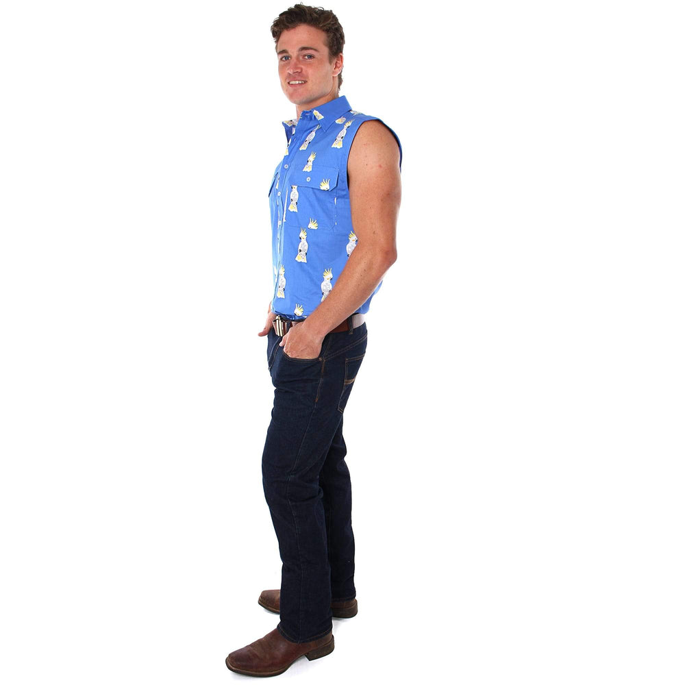 Cockatoo Mens Full Button Loose Fit Sleeveless Workshirt