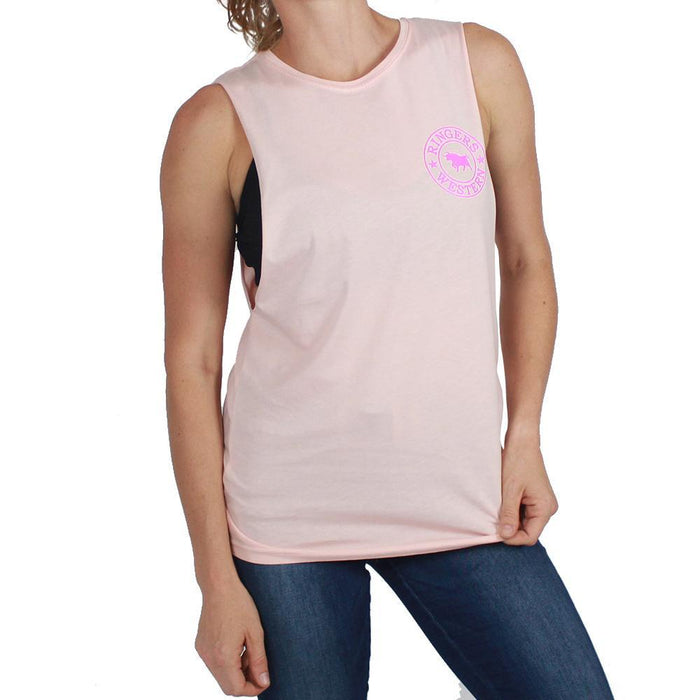 Signature Bull Muscle Tank in Peach / Hot Pink