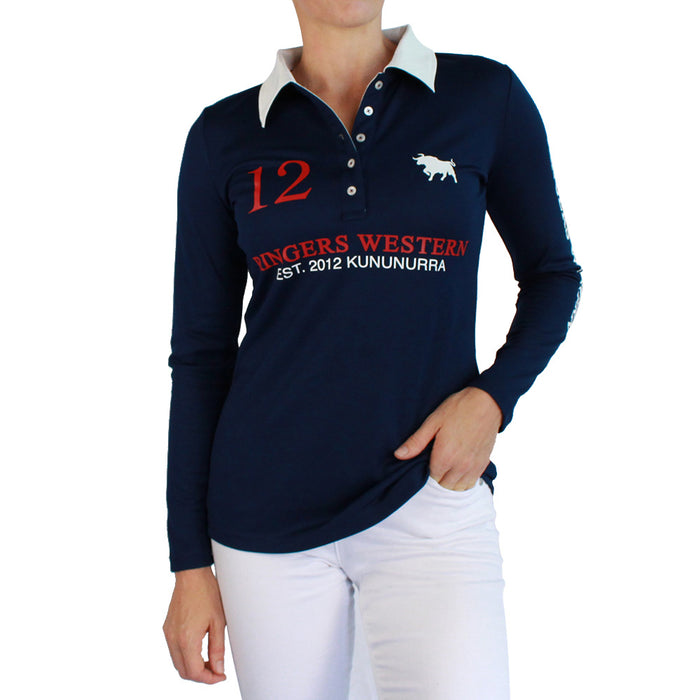 Fran Womens Performance Polo Long Sleeve Navy