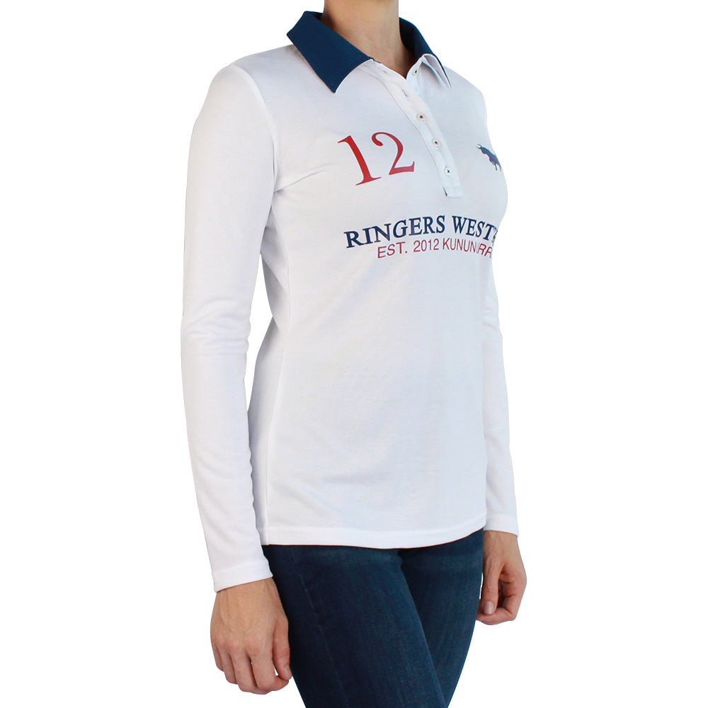 Fran Womens Performance Polo Long Sleeve White