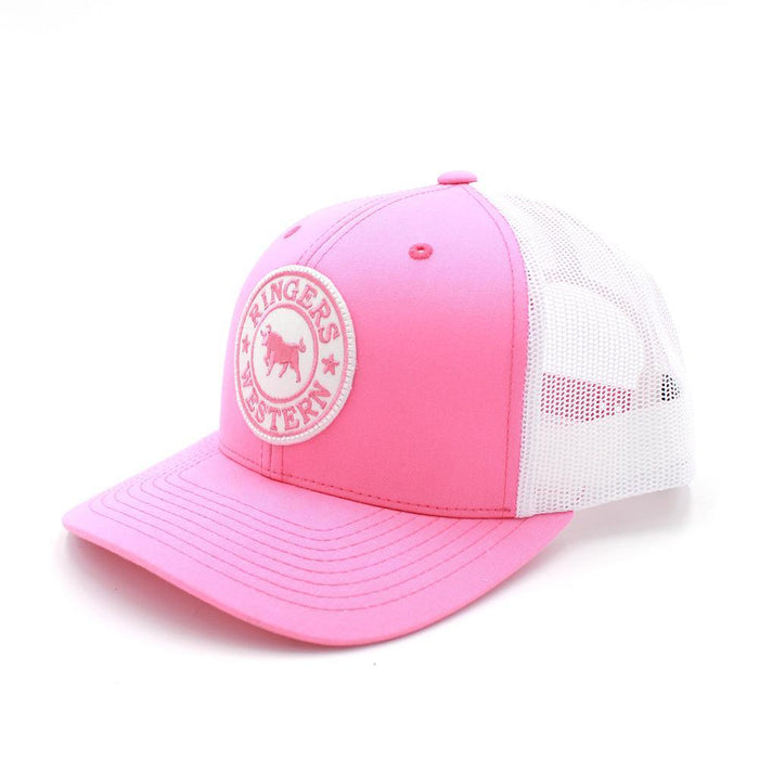 Pink & White Signature Bull Trucker with Pink & White Patch