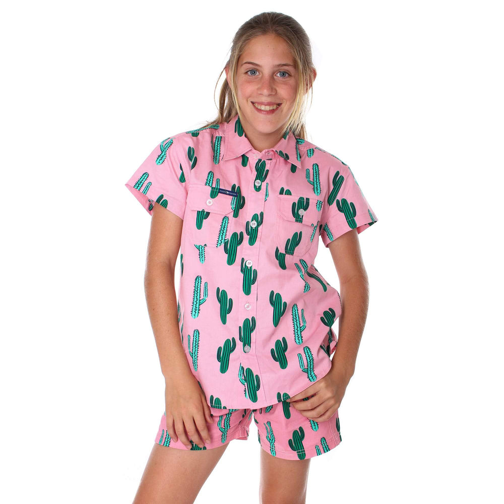Cactus Kids Full Button Loose Fit Short Sleeve Workshirt